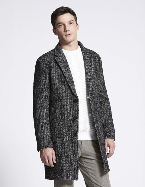 cappotto in tweed chevron - MUTWEED_GRIS - Vue de face - Celio Italia